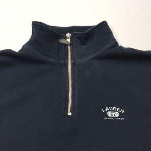 LAUREN RALPH LAUREN Womens Blue 1/4 Zip Sweatshirt